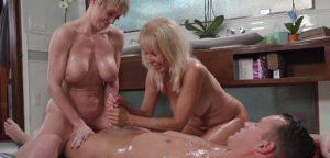 Handjob porn scene